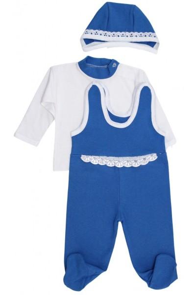 Compleu bebe bumbac 3 piese albastru
