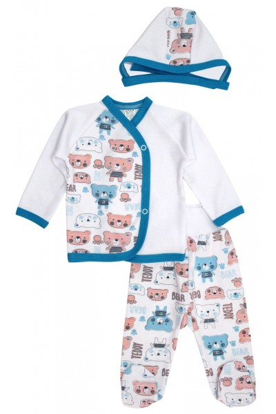 Compleu bebe bumbac 3 piese urs albastru