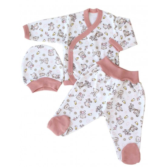 costumas bebe bumbac roz prafuit ursuleti