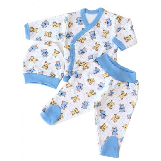 costumas bebe bumbac bleu ursuleti