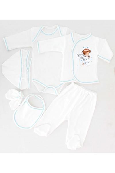 compleu bebe bumbac 6 piese bleu ingeras