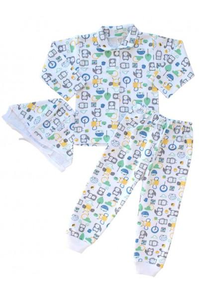 compleu pijamale bumbac roboti