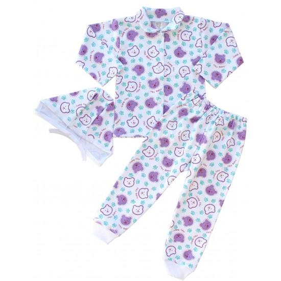 compleu pijamale bumbac cap urs mov