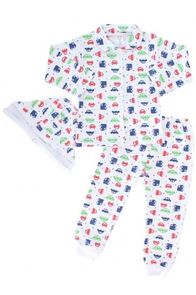 compleu pijamale masinute verzi