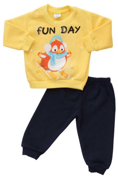 compleu bebe bumbac vatuit galben pinguin
