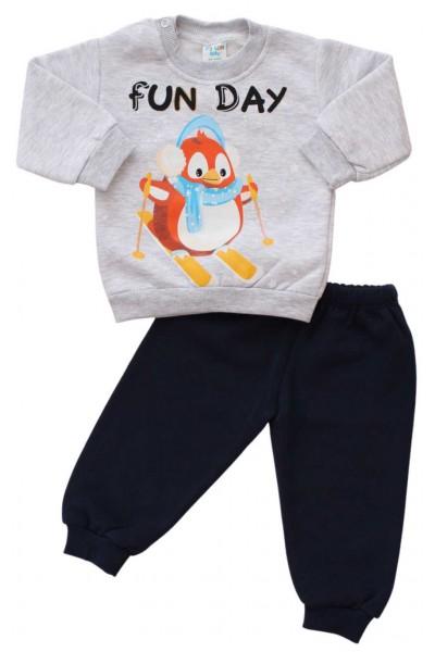 compleu bebe bumbac vatuit gri pinguin