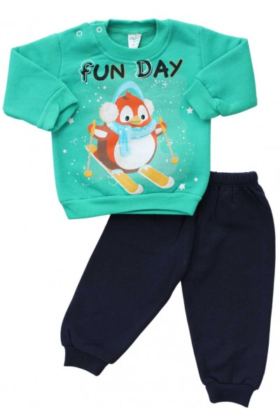 compleu bebe bumbac vatuit verde pinguin