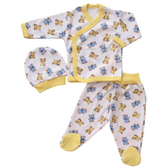compleu bebe bumbac galben ursuleti