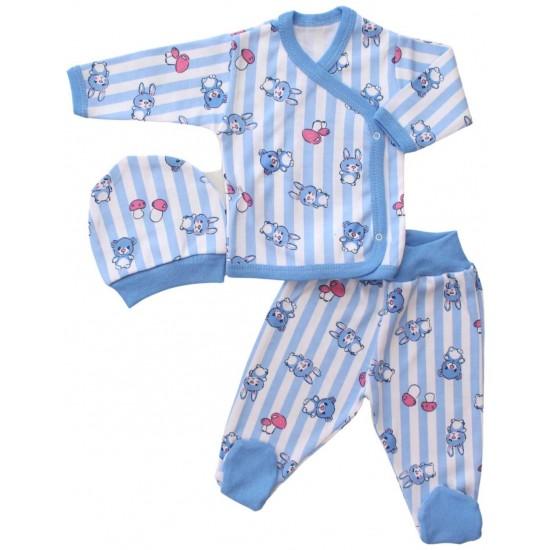 compleu bebe bumbac bleu iepuras