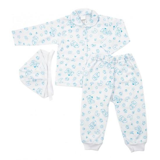compleu pijama bumbac subtire auga ursuleti albastri
