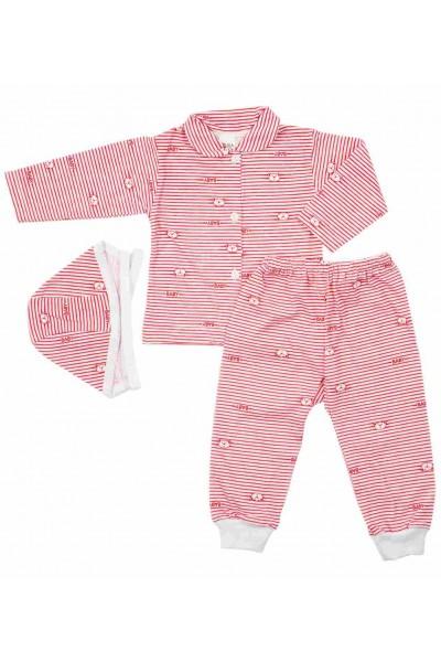 compleu pijamale bumbac subtire azuga dungi rosii