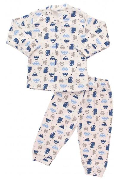 compleu pijamale masinute albastre