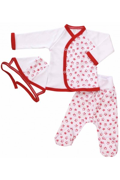 costumas bebe bumbac stelute rosii