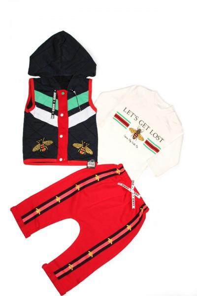 costum copii trei piese jikko pantalon rosu insecte