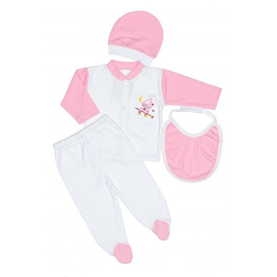 Costumas 4 piese roz ewelin