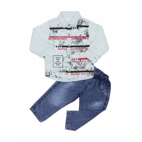 Costum baieti pollvelo kids camasa in vernil+pantalon denim