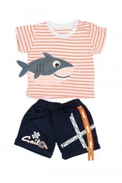 Costum baieti agumini baby shark portocaliu neon