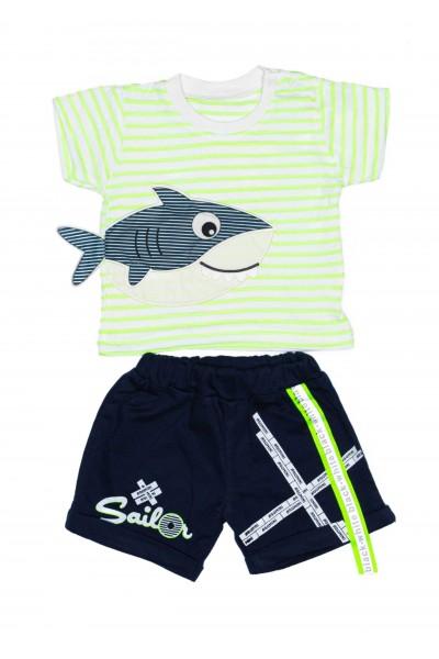 Costum baieti agumini baby shark verde neon