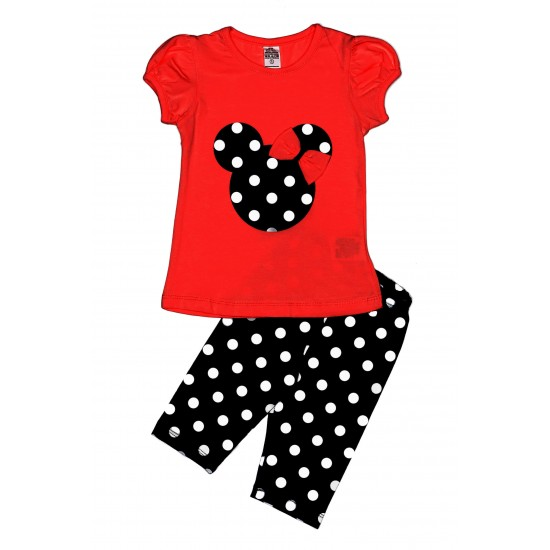 Costum hanim fete minnie rosu buline