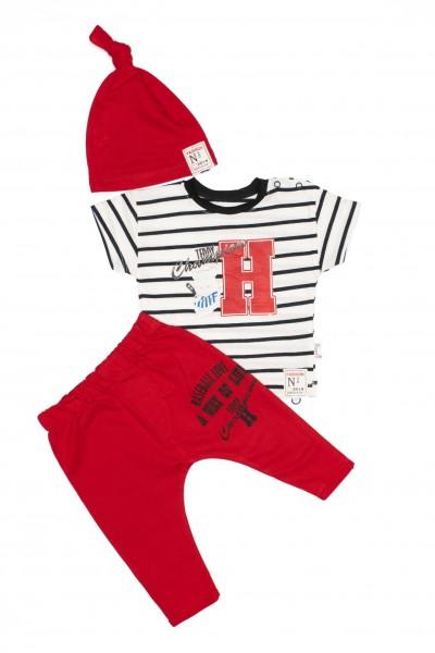 Costum copii trei piese hippil rosu