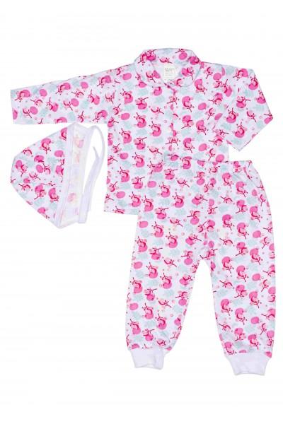 Compleu pijamale azuga flori roz