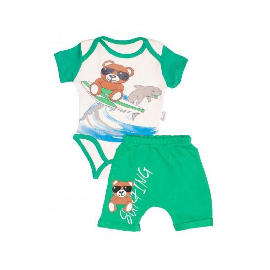 Compleu bebe bumbac ursulet surfing verde