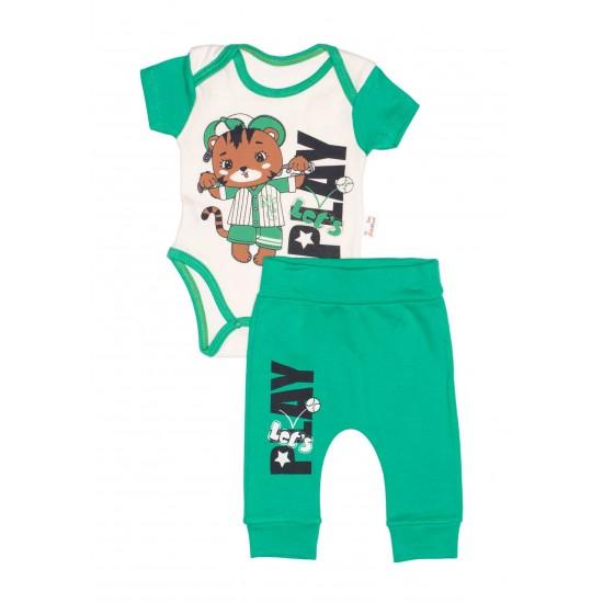 Compleu bebe bumbac ursulet let's play verde