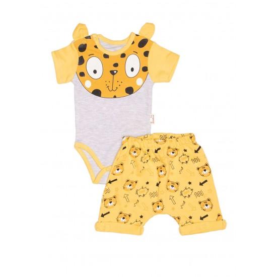 Compleu bebe bumbac tigru galben
