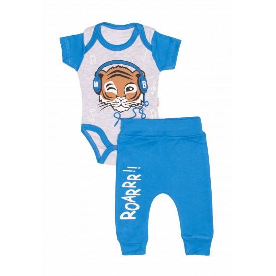 Compleu bebe bumbac tigru albastru