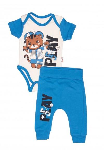 Compleu bebe bumbac ursulet let's play albastru