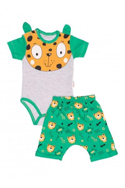 Compleu bebe bumbac tigru verde