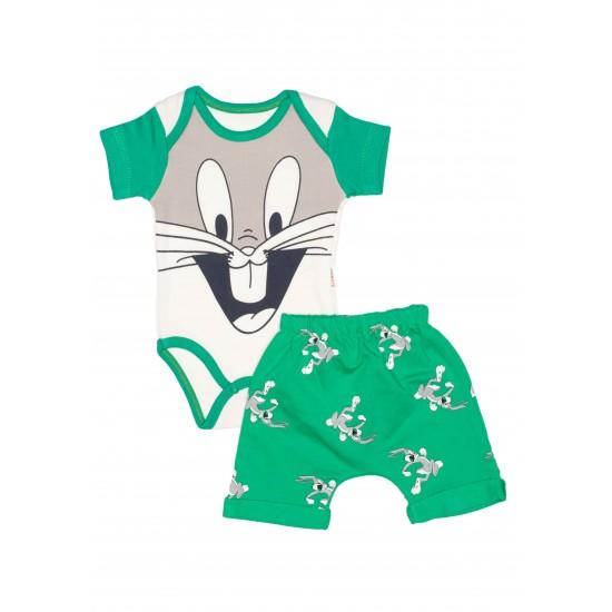 Compleu bebe bumbac bunny verde