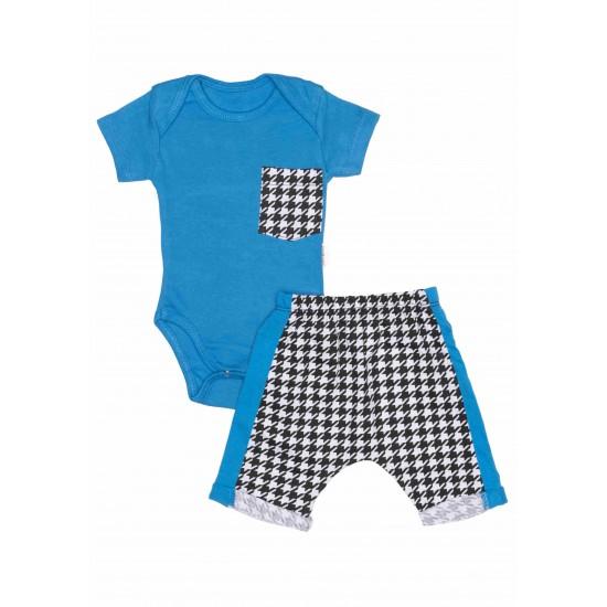 Compleu bebe albastru-carouri