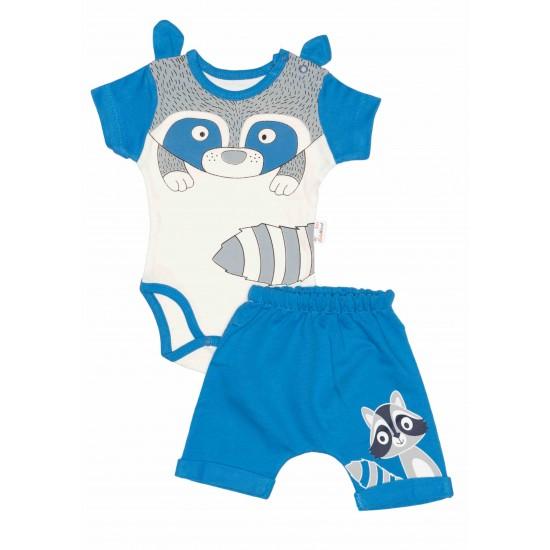 Compleu bebe bumbac raton albastru