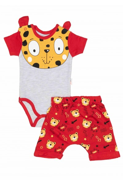 Compleu bebe bumbac tigru rosu