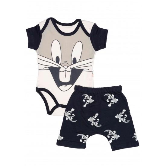 Compleu bebe bumbac bunny bleumarin