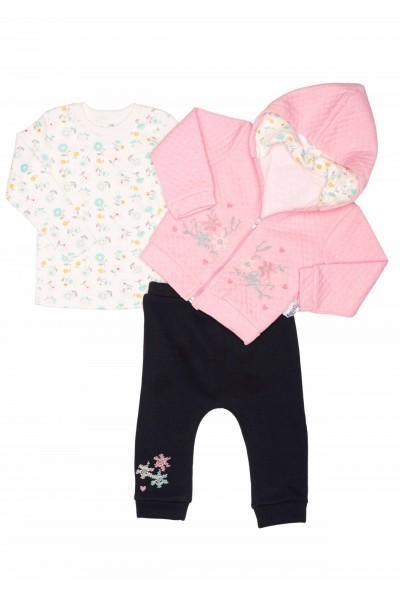 Costum copii trei piese necix roz floricele