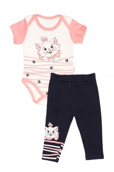 Compleu bebe babywood pisicuta marie roz somon-bleumarin