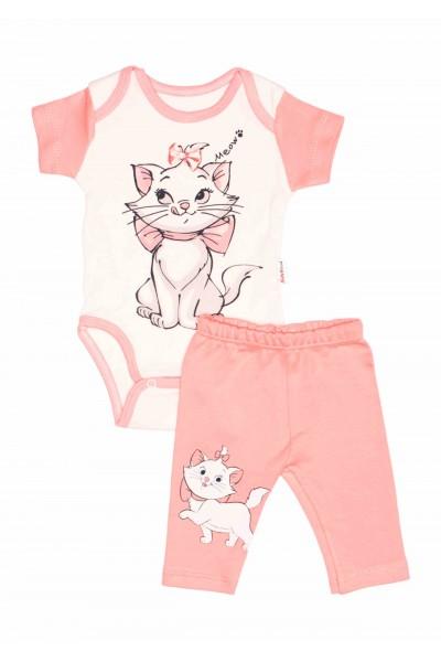 Compleu bebe babywood pisicuta marie roz somon