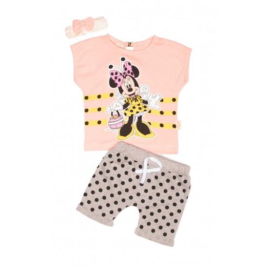 Compleu fete TeyM Baby Minnie roz somon