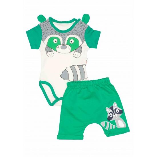 Compleu bebe bumbac raton verde