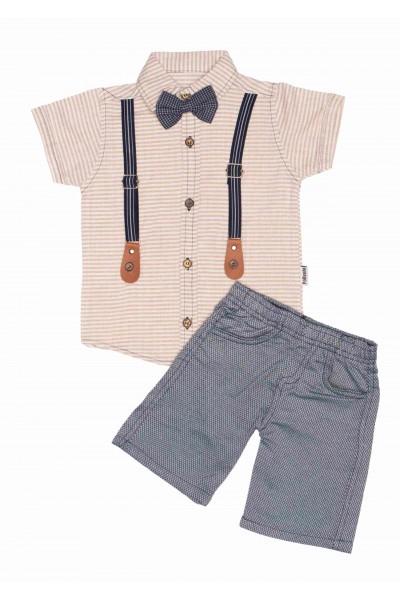Compleu baieti camasa crem+pantaloni bleumarin