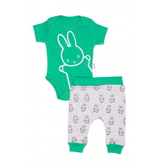 Compleu bebe bumbac iepuras verde