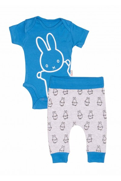 Compleu bebe bumbac iepuras albastru