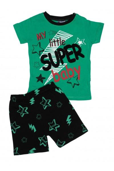 compleu baieti super-baby verde