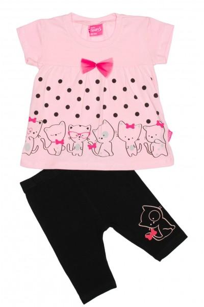 Compleu fetite imprimeu pisicute roz