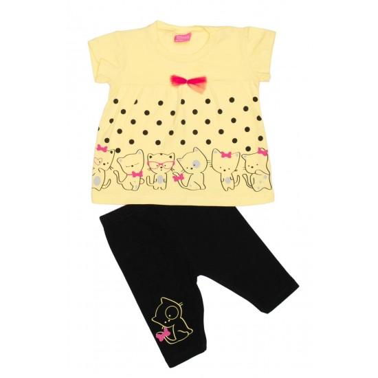 Compleu fetite imprimeu pisicute galben