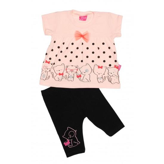 Compleu fetite imprimeu pisicute roz somon