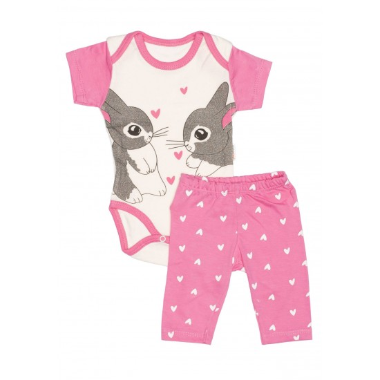 Compleu bebe bumbac roz imprimeu iepurasi