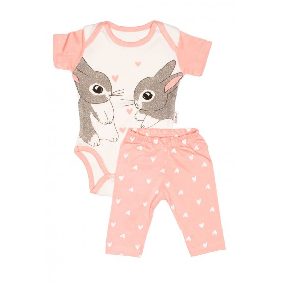 Compleu bebe bumbac roz somon imprimeu iepurasi